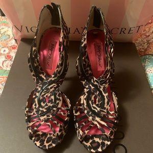 Betsey Johnson Satin Leopard Heels